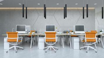Interior modern open space office in 3D illustration