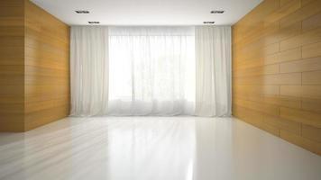 Empty room with wooden walls in 3D rendering photo
