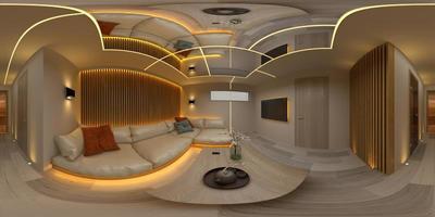 Proyección panorámica esférica de 360 grados de una sala de diseño moderno interior en la ilustración 3d