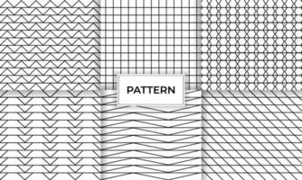 Geometric set of black and white abstract line pattern vector