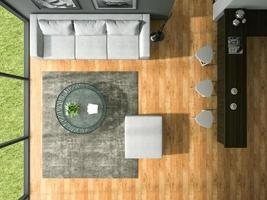 Top view of an interior modern design room in 3D rendering