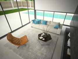 Interior house with a swimming pool in 3D rendering