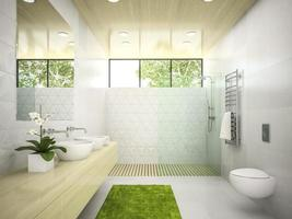 Interior of a bathroom with a wooden ceiling in 3D rendering photo