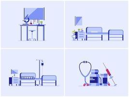 Conjunto de ilustración de vector interior médico y sanitario