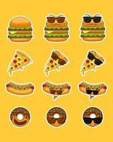 Ilustración de dibujos animados de vector de mascotas de comida rápida