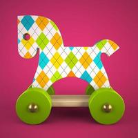 A wooden toy horse on a pink background in 3D illustration