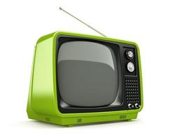 Green retro TV isolated on a white background photo