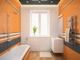Interior of a modern design bathroom with orange walls in 3D rendering