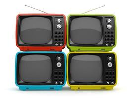 Multi-colored retro TVs isolated on a white background photo