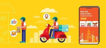 diseño de banner de entrega de alimentos, diseño plano, pedido en línea. vector