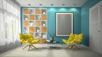 Interior modern design of a room in 3D illustration