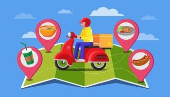 diseño de banner de entrega de alimentos, diseño plano, pedido en línea vector