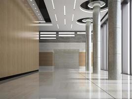 Interior de la recepción del vestíbulo de un hotel en la ilustración 3d