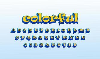 text effect colorful font alphabet vector