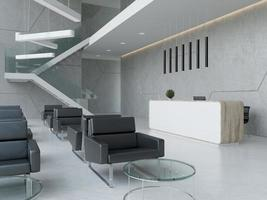 Interior of a hotel office lobby spa reception area in 3D illustration photo