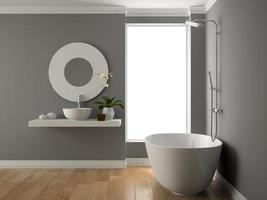 Interior bathroom in 3D rendering