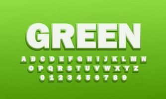 efecto de texto fuente verde alfabeto vector