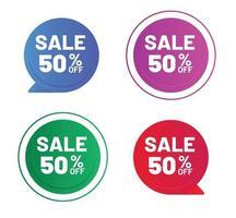 rebajas ofertas especiales descuento 50 de descuento con dos estilos diferentes vector