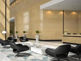 Interior de la zona de recepción de un hotel en la ilustración 3d
