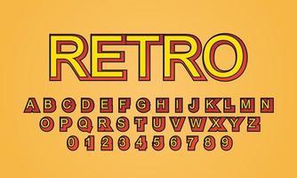 text effect retro font alphabet vector