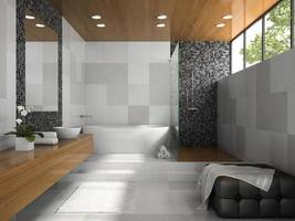Interior of a stylish bathroom with grey walls in 3D rendering photo
