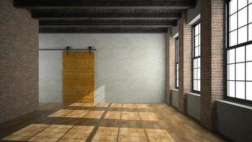 Habitación loft vacía con una puerta de madera en 3D. foto