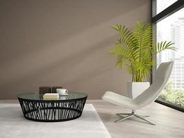 Part of an interior with a white armchair in 3D rendering