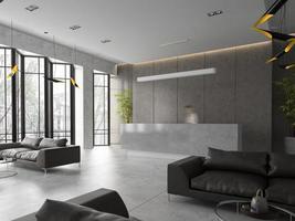 Interior de una recepción de hotel y spa en ilustración 3d
