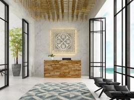 Interior of a hotel and spa reception in 3D illustration photo