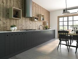 Modern style interior design of a home in 3D rendering photo