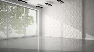 Empty room with white panel walls in 3D rendering