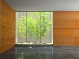 Empty room with wooden panel walls in 3D rendering