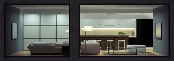 Night interior of a modern loft view from the outside in 3D rendering photo