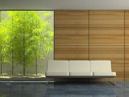 Part of a modern interior waiting room in 3D rendering
