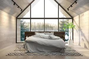 Dormitorio interior de una casa forestal en 3D rendering