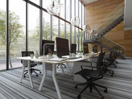 Interior modern open space office in 3D illustration photo