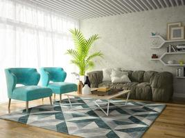 Interior design of a modern room in 3D illustration