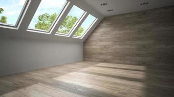 Habitación interior vacía con paredes de madera en 3D. foto