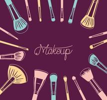 conjunto de accesorios de pinceles de maquillaje vector