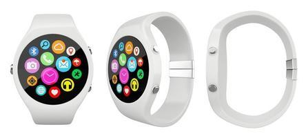 Tres relojes inteligentes redondos blancos sobre un fondo blanco.