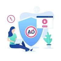 Ad blocking software vector concept