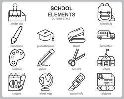 conjunto de iconos de escuela para sitio web, documento, diseño de carteles, impresión, aplicación. estilo de contorno de icono de concepto de escuela.