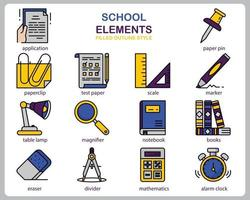 School icon set for website, document, poster design, printing, application. School concept icon filled outline style. vector