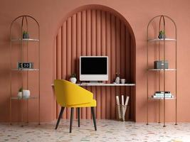 Memphis-style conceptual interior home office in 3D illustration
