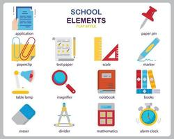 School icon set for website, document, poster design, printing, application. School concept icon flat style. vector