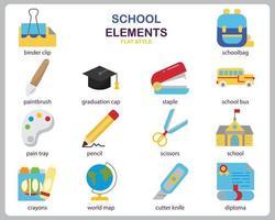 conjunto de iconos de escuela para sitio web, documento, diseño de carteles, impresión, aplicación. icono de concepto de escuela estilo plano.