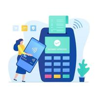 Contactless payment illustration concept with woman character vector