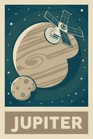 satélite de estilo retro y vintage explorando el cartel del planeta júpiter vector