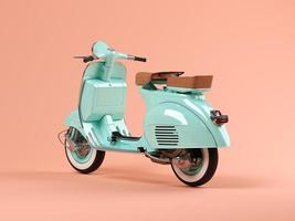 Blue scooter on a pink background in 3D illustration photo