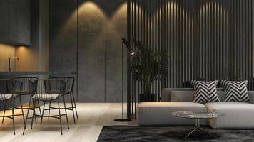 Black minimalist interior of a modern home in 3D rendering